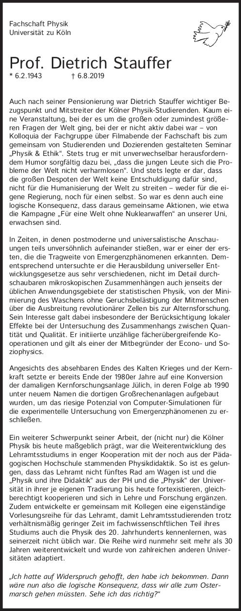 Todesanzeige Dietrich Stauffer, für PDF-Version klicken